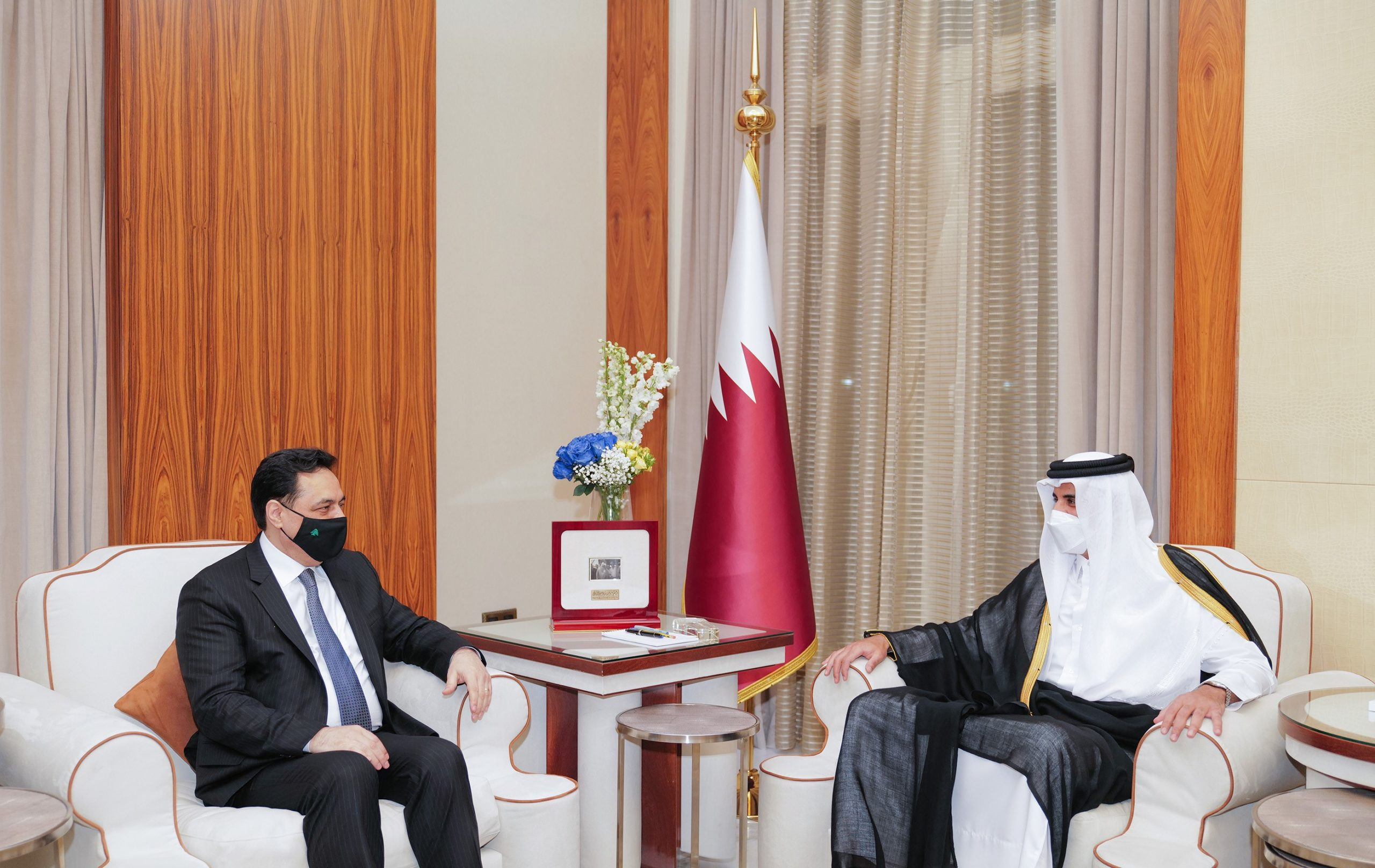 HH The Amir Receives Lebanese Caretaker Prime Minister